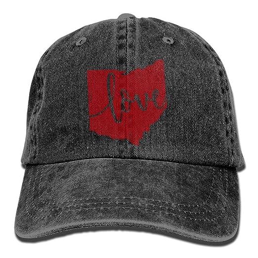 5614ace57f6 Amazon.com  Baseball Jeans Cap Ohio Home Love Vintage Map State Outline Men  Women Snapback Caps Adjustable Dad Hat  Clothing