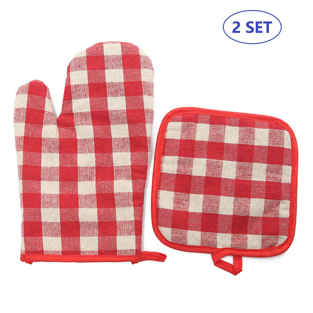 Yibaision Oven Mitts and Pot Holders, Hot Pads and Cotton Microwave Oven Mitts Heat Resistant for Men Women Children Kids