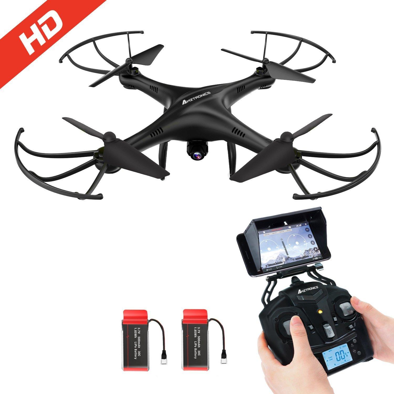 AMZtronics - Drone con Telecamera 720P HD Camera WiFi FPV 2.4Ghz, Quadricottero Telecomandato, 3D Flips con Scheda di memoria