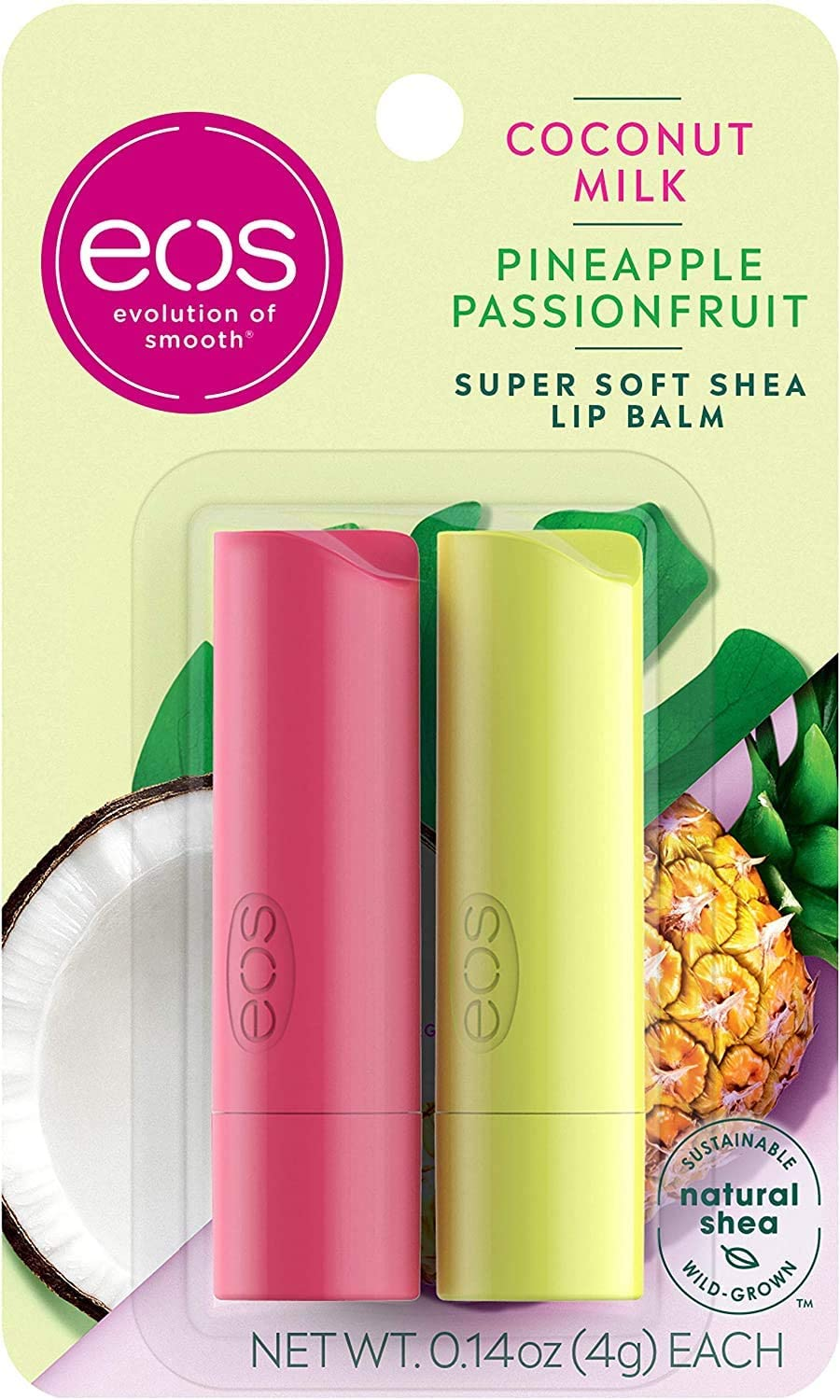 eos Super Soft Shea Stick Lip Balm, Coconut Milk and Pineapple Passionfruit, Deeply Hydrates and Seals in Moisture, Sustainably-Sourced Ingredients