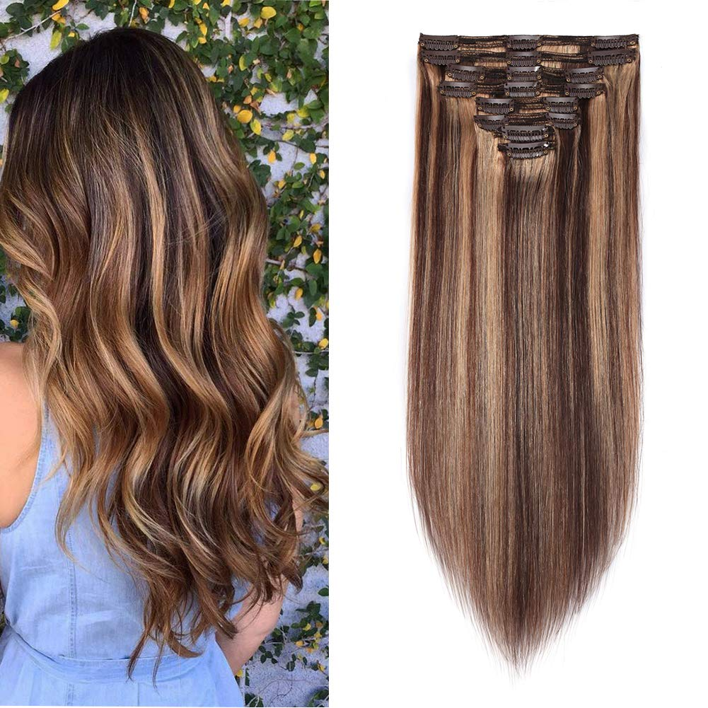 Double Weft 100% Remy Human Hair Clip in Extensions Highlight 14''-22'' Grade 7A Quality Full Head Thick Long Soft Silky Straight 8pcs 18clips (18'' / 18 inch 140g,#4/27 Medium brown/Dark Blonde) by MY-LADY