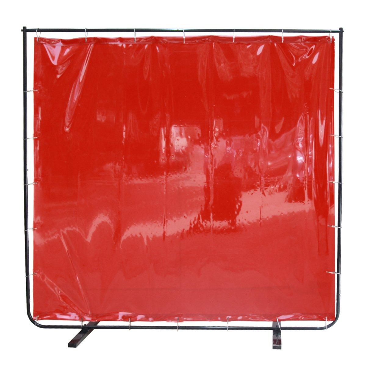 VIZ-PRO Red Vinyl Welding Curtain/Welding Screen With Frame, 6' x 6' by VIZ-PRO (Image #2)