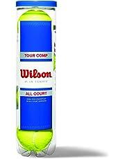 Wilson Tennisbälle, Tour Comp, 4er Dose, Für harte Beläge, Gelb, WRT102600