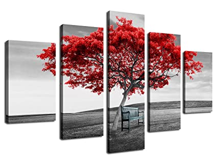 Amazoncom Artewoods Wall Art Canvas Painting Red Tree With Chair