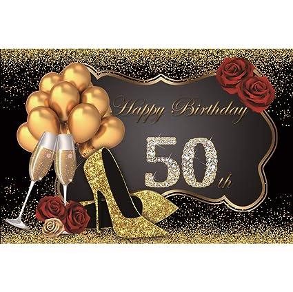 Cassisy 3x2m Vinilo Fondo de Fotografia Mujer 50º Tema del Feliz cumpleaños Lentejuelas Purpurina Tacones Altos Globo Telón de Fondo Photo Booth ...