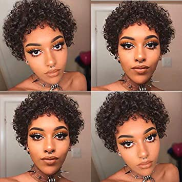 WIGNEE Short Curly Wavy Wigs for Women Remy
