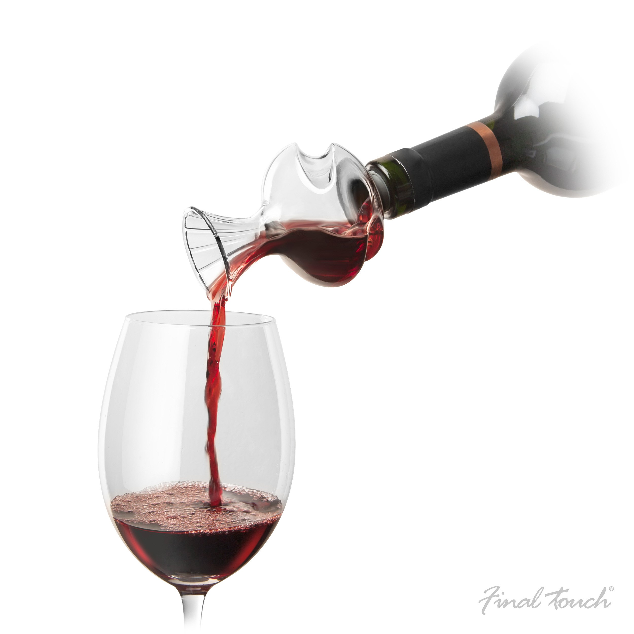 The Swirl Glass Wine Aerator with Stand - On The Bottle Wine Scent & Flavor Enhancer by Final Touch (Image #2)