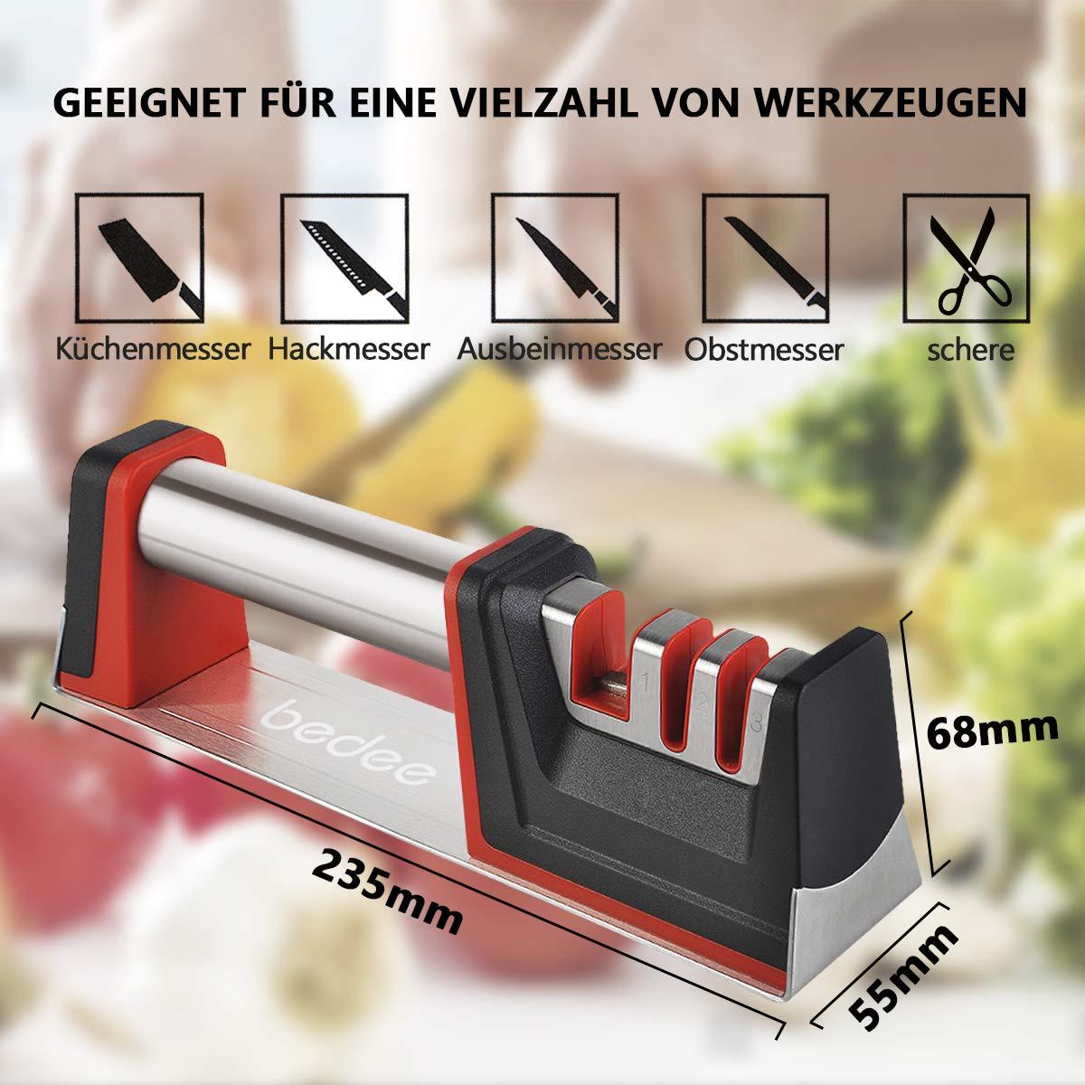 bedee Messerschärfer Knife Sharpener Messerschleifer für Edelstahl und Keramikmesser Küchen messerschärfer Steakmesser Messer Schärfen Schärfen Messer mit Schnittfeste Handschuhe (Metall) (Metall)