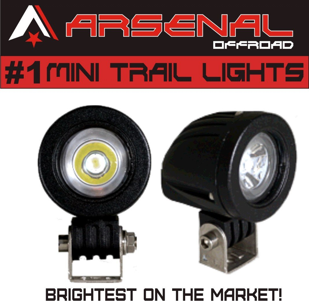 #1 Mini Trail Lights 2017 Design by Arsenal Offroad 20W CREE LED Spot Motorcycle Offroad Dual Sport Enduro Fog Trail Head Light for Xr DRZ EXC Dirt Bike Dual Sport KTM Arsenal Offroad Inc. A-SLB-1C-20W-Prime
