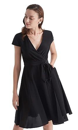 LilySilk Silk Wrap Dress for Women V Neck with Belt Pockets Figure  Flattering Tunic Ladies Black 7902c2352fab