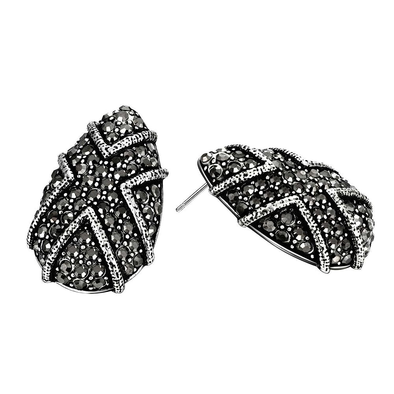 Gnzoe Fashion Jewelry 18K Gold Plated Stud Earrings Women Black Egg Crystal Eco Friendly