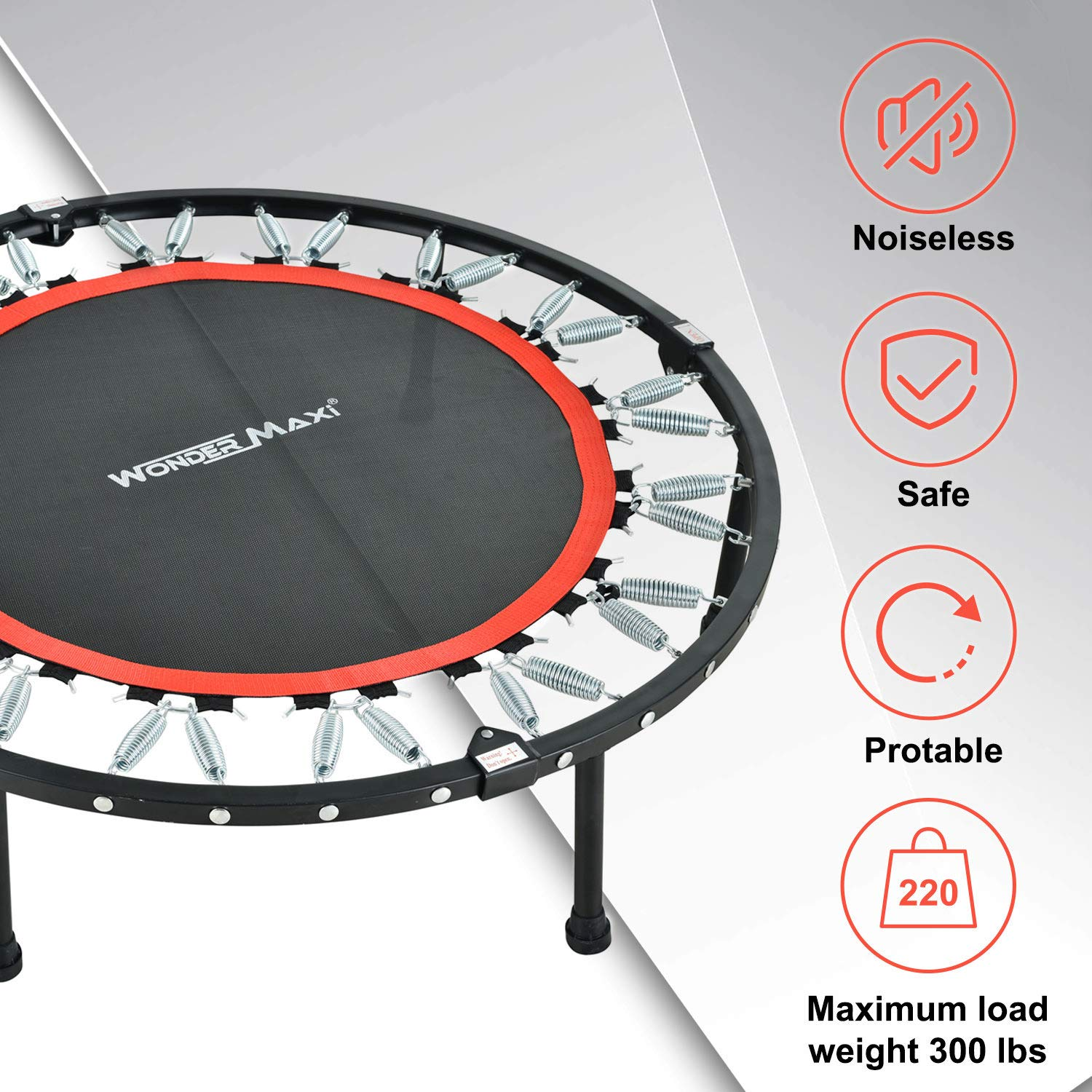 Wonder Maxi Mini Portable Foldable Exercise Trampoline 40 Inch Fitness Rebounder Trampoline with Adjustable Handrail and Safety Pad for Adults Kids Indoor Garden Workout Cardio