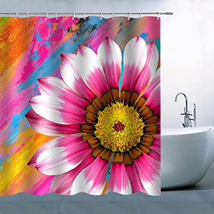 Pink Flower Shower Curtain Magenta Big Petals Beautiful Oil Paint Art Bathroom Polyester Fabric Water