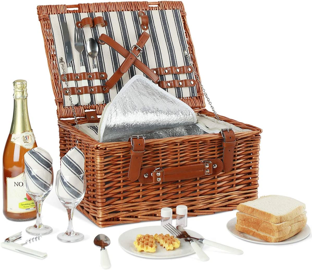Willow Picnic Basket Set for 2 Persons with Large Insulated Cooler Bag and Classical Cutlery Service Kit Wicker Picnic Hamper for Camping,Outdoor,Valentine Day,Chirtmas,Thanks Giving,Birthday