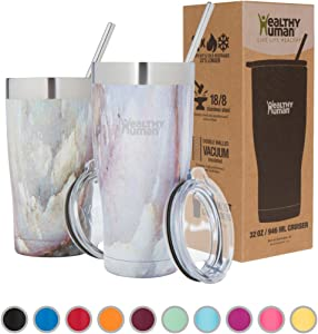 Healthy Human Insulated Stainless Steel Tumbler Travel Cruiser Cup with Straw and Lid 32 oz Mirage