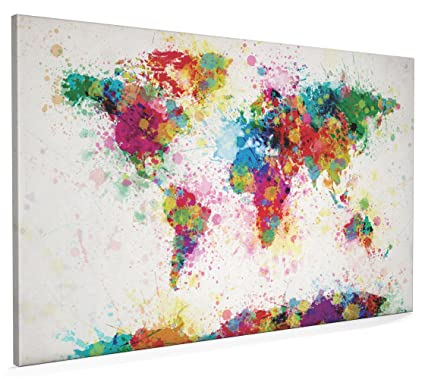 0e736bcc7 Map of the World Map Paint Splashes, Canvas Art Print, 22x34 inch (A1) -  168: Amazon.co.uk: Kitchen & Home