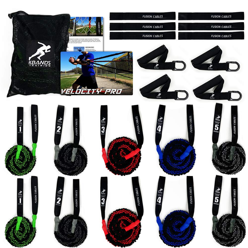 Kbands Fusion Cables Velocity Trainer (Baseball - Softball Resistance Arm Bands for Strength and Velocity) (Bullpen Bundle - Green/Grey/Red/Blue/Black) by Kbands Training