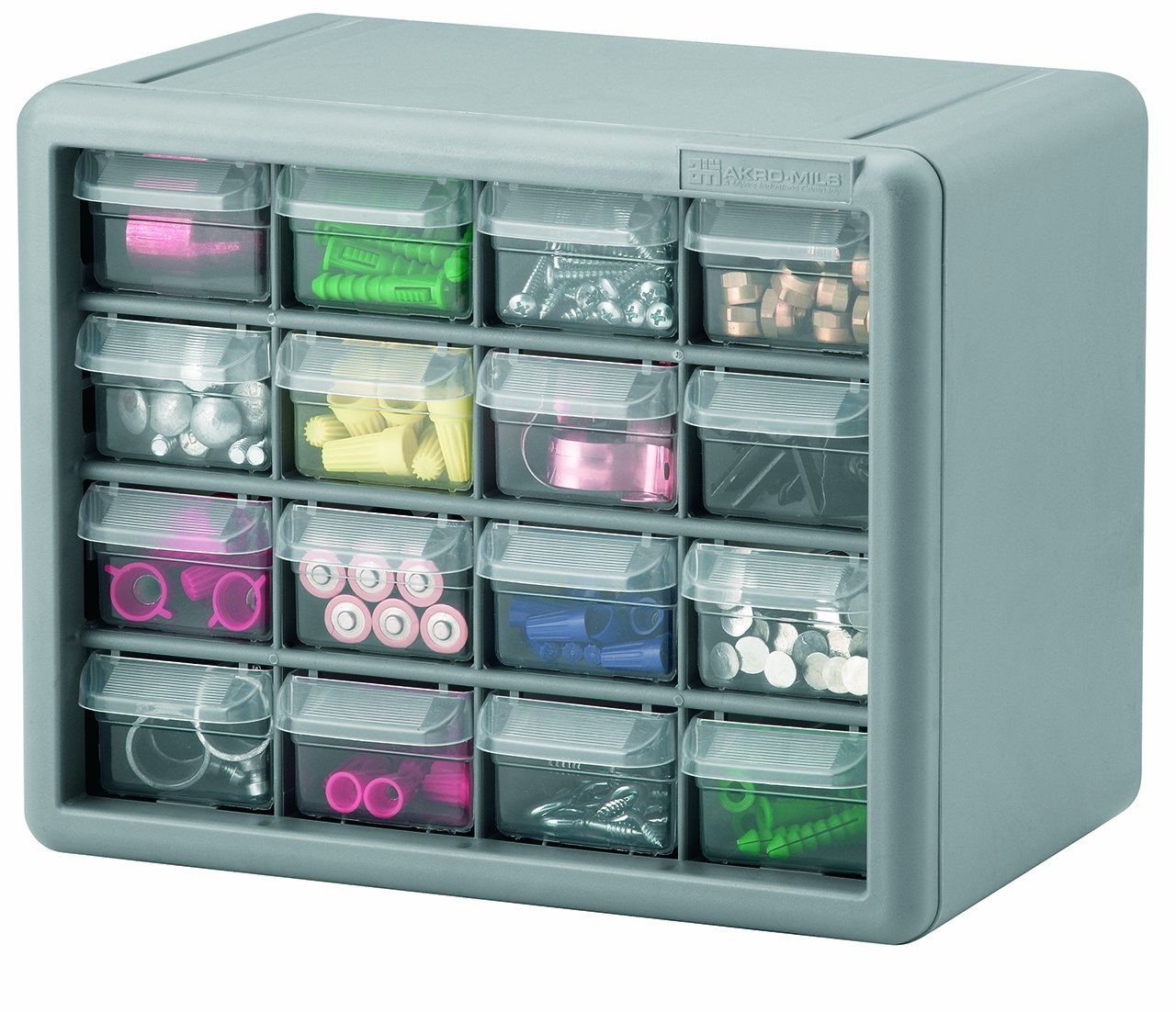 Akro-Mils 10716 16-Drawer Plastic Parts Storage Hardware and Craft Cabinet, 10-1/2-Inch by 8-1/2-Inch by 6-3/8-Inch, Gray