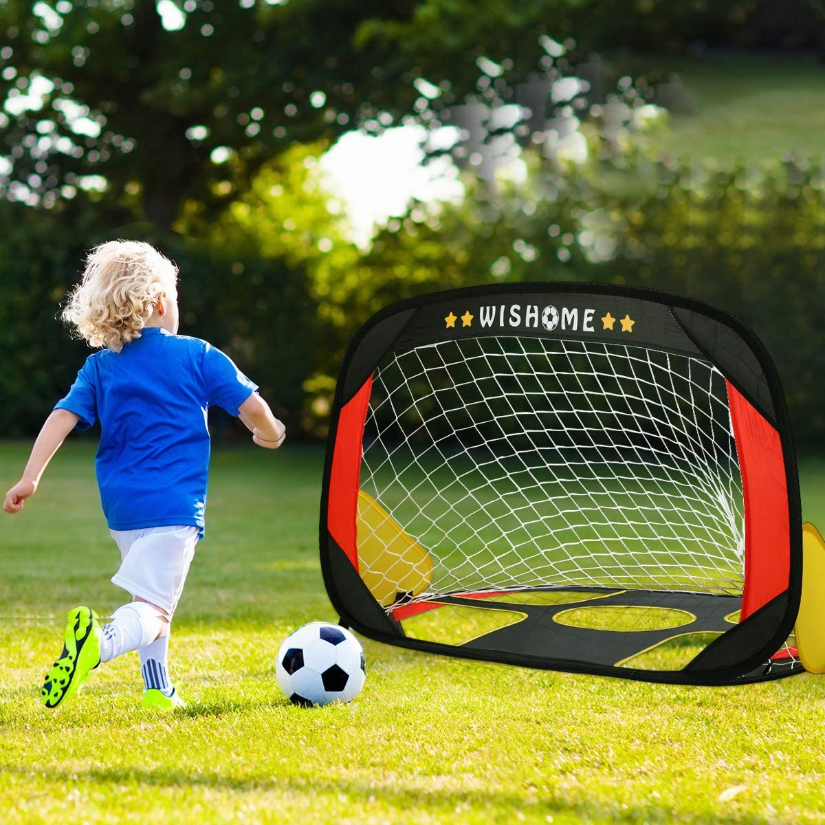 Kids Football Practice Goal for Indoor Outdoor Backyard Park Play Elikliv 2 in 1 Quick Pop Up Soccer Goal Portable Kids Soccer Net