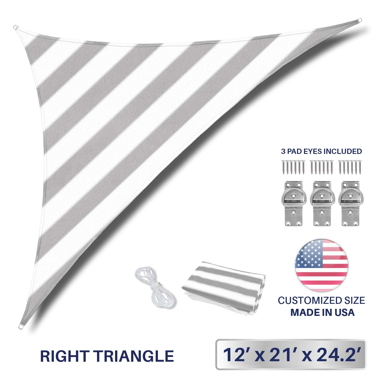 Windscreen4less 12 x 21 x 24.2 Triangle Sun Shade Sail – Wide Grey White Stripes Durable UV Shelter Canopy for Patio Outdoor Backyard Included Free Pad Eyes – Custom Size 3 Year Warranty