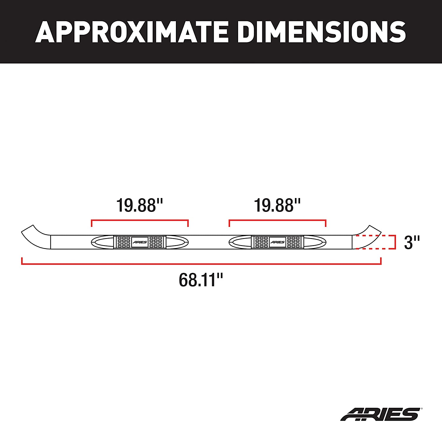 Aries Automotive 201001-2 Stainless Steel Side 3-Inch Step Bar
