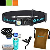 Olight H1R Nova 600 Lumens Rechargeable LED Headlamp (Multiple Color Options) w/ Olight RCR123A Battery, Magnetic USB Charging Cable, and LumenTac CR123A Battery