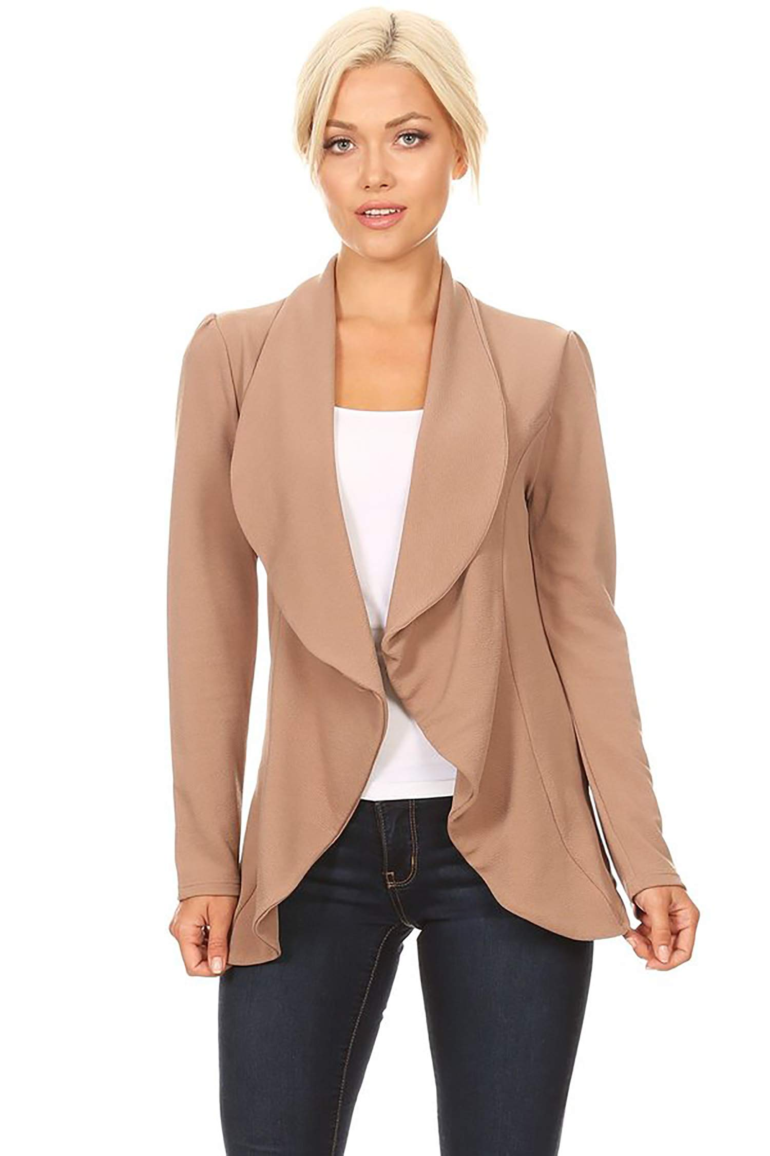 Women's Stretch Long Sleeves Open Front Blazer/Made in USA (S-3XL) Mocha M