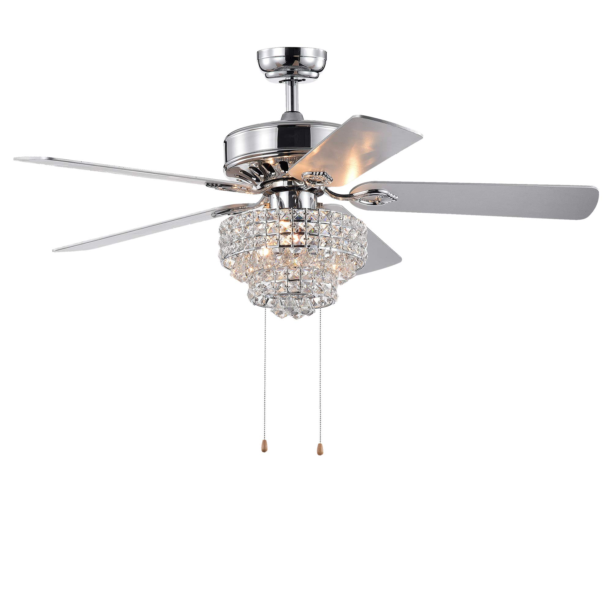 Warehouse of Tiffany CFL-8342CH Bryanya 5-Blade 52-Inch Chrome Lighted Crystal Shade (Optional Remote) Ceiling Fan, Silver
