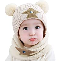 OUPAI Hats Infant Kids Winter Warm Knit Hats Slouchy Baggy Beanie Hat with Pompom Thick Cotton Skull Cap for 1-4 Years…