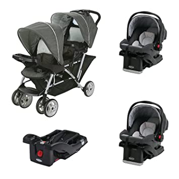 Graco Duoglider Click Connect Double Stroller Car Seats Base Travel System