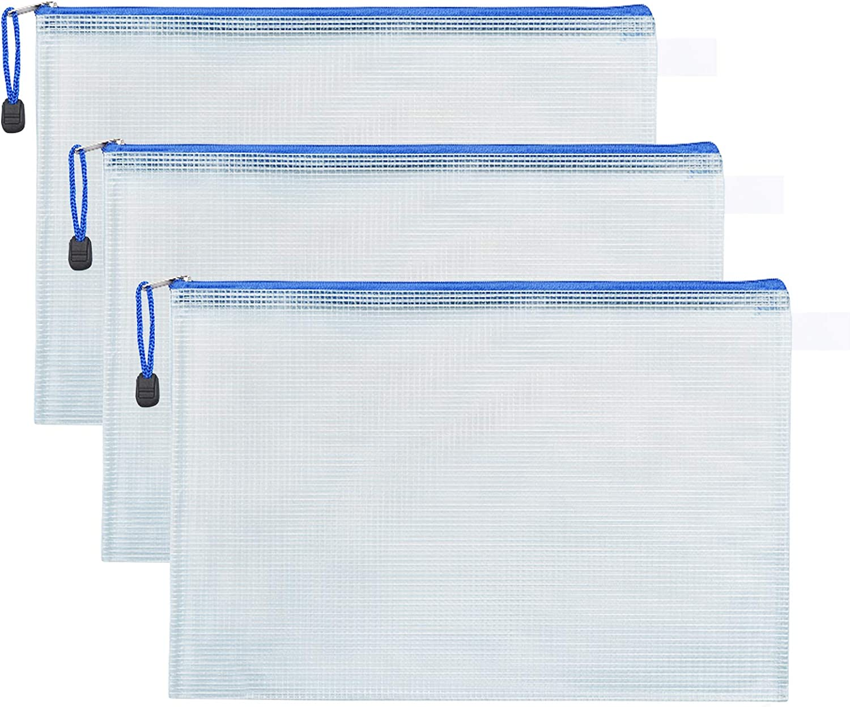 MJIYA Mesh Zipper Pouch Document Bag Plastic Zip File Folders Weatherproof Large Stylish Multipurpose Organizer Folder for School and Office Supplies Business Papers (White, B4)