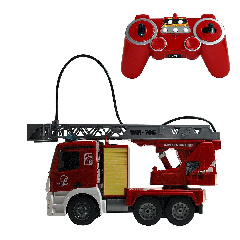Pompier, camion de pompier avec télécommande, lumière et son