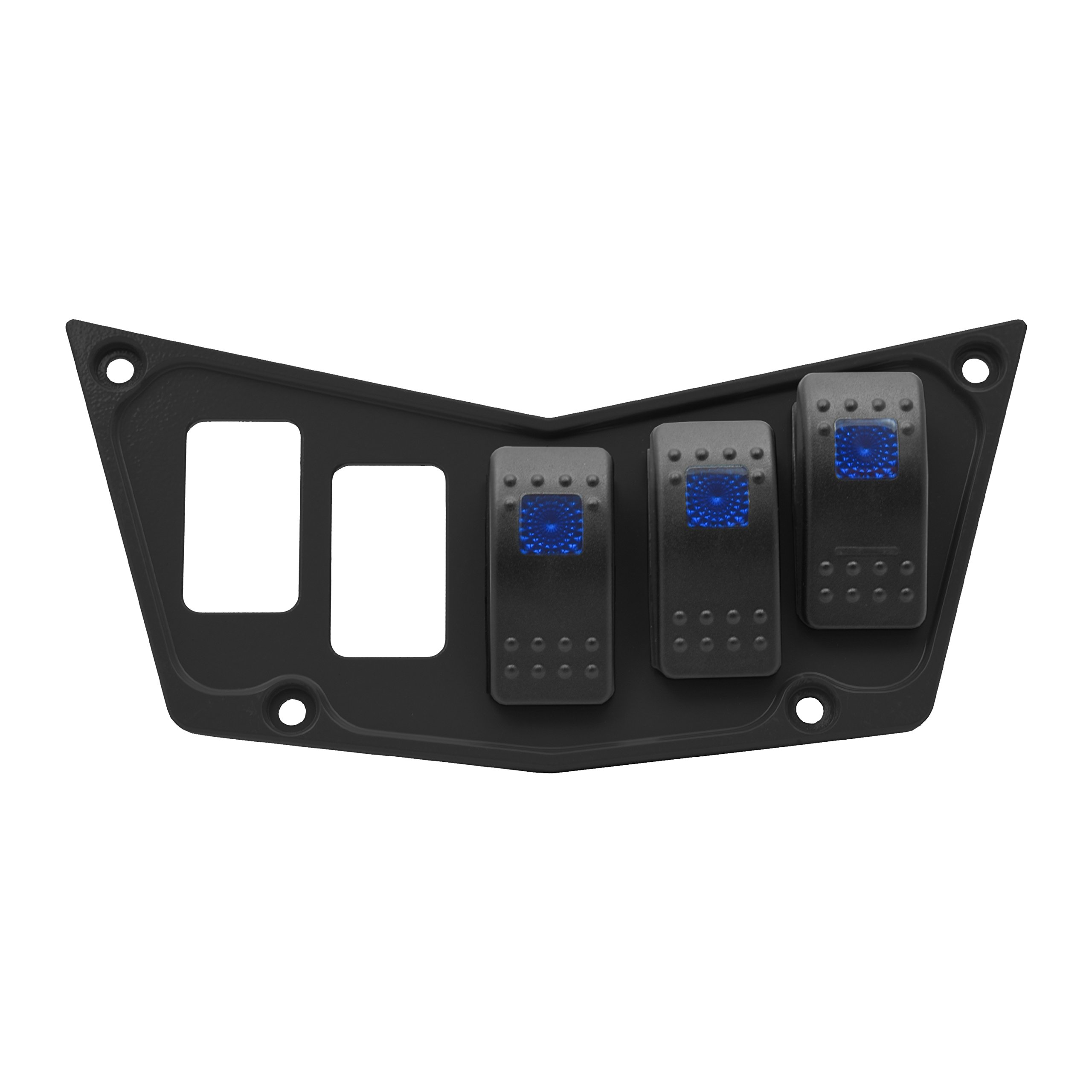 STV Motorsports Custom Aluminum Black Dash Panel for Polaris RZR XP 900, 800, S, 570, Jagged X with 3 Free Rocker Switches