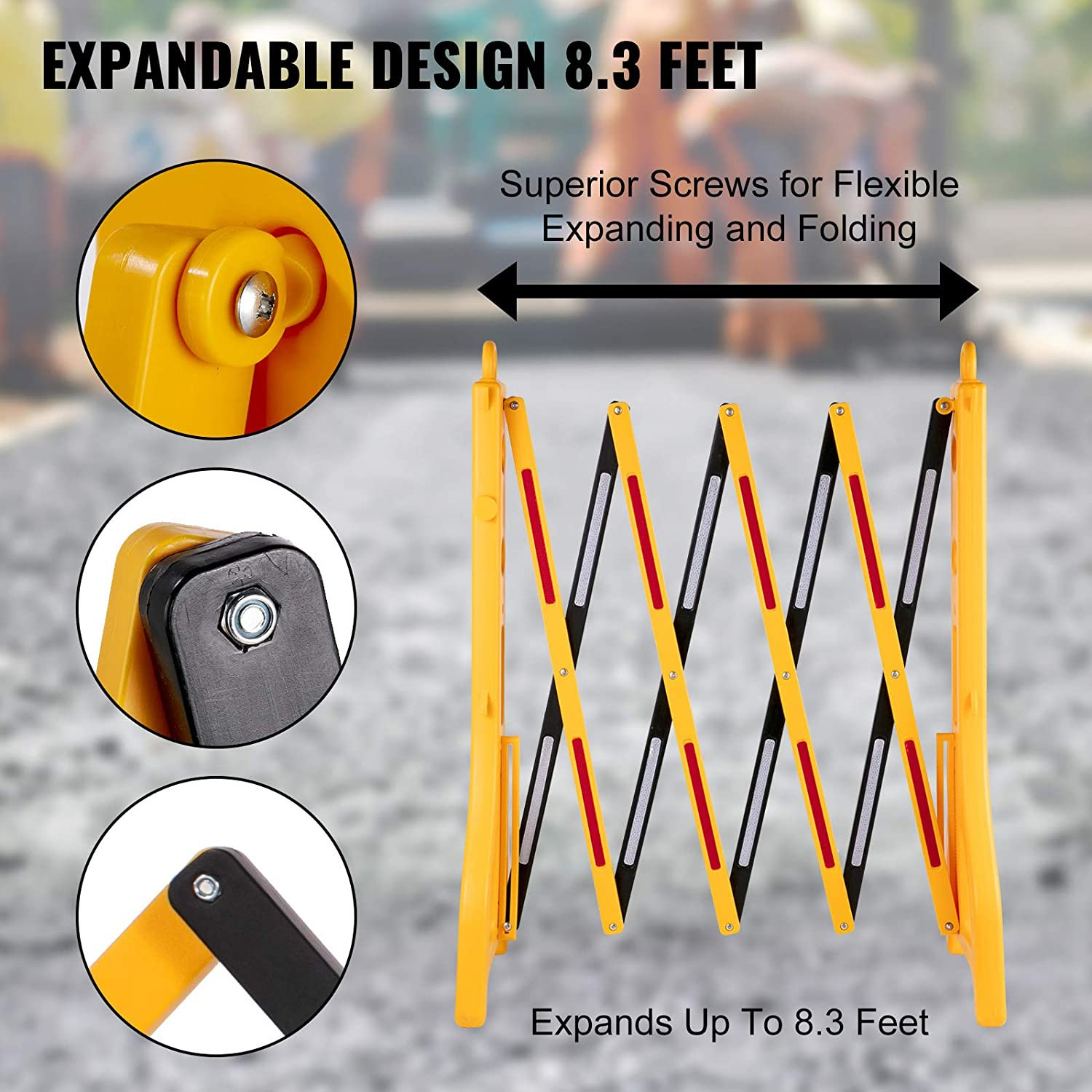 """VEVOR Expandable Mobile Barricade 8.3ft Width Plastic Barricade Water Filled Yellow Expandable Safety Barricades 38/"""" Height Expandable Barricade Fence 2pcs Traffic Barricade w//Reflectors w// 2 Chains"""