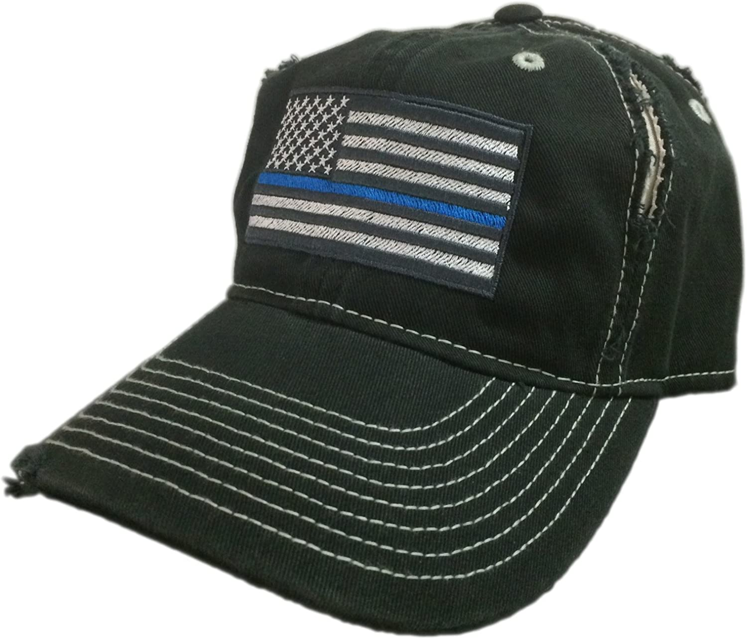 Thin Blue Line USA Flag Embroidered Low Profile Unstructured Mesh Fabric Cap