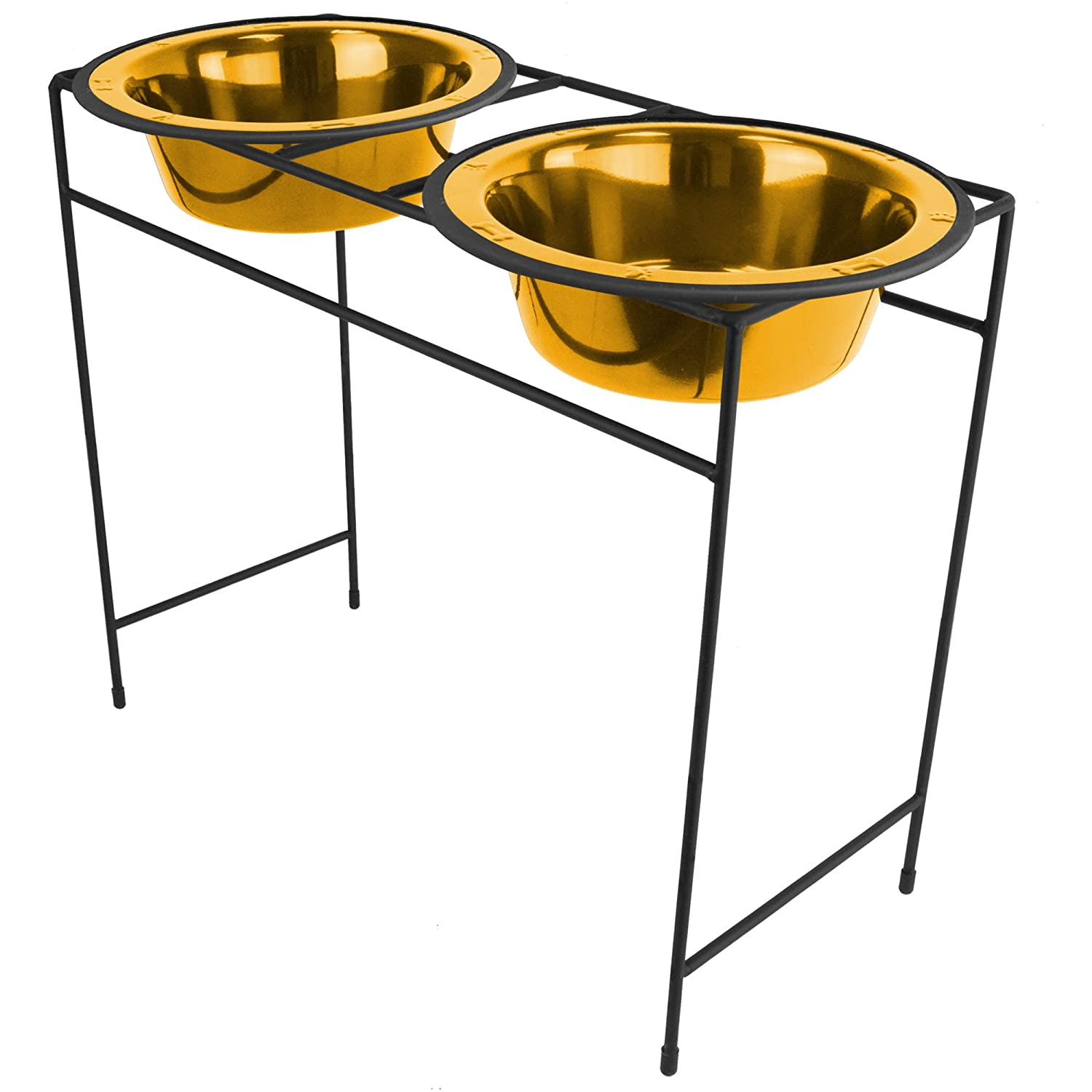 gold Platinum Pets MDDS96GLD Modern Double Diner Stand with 2 96-Ounce Wide Rimmed Bowls