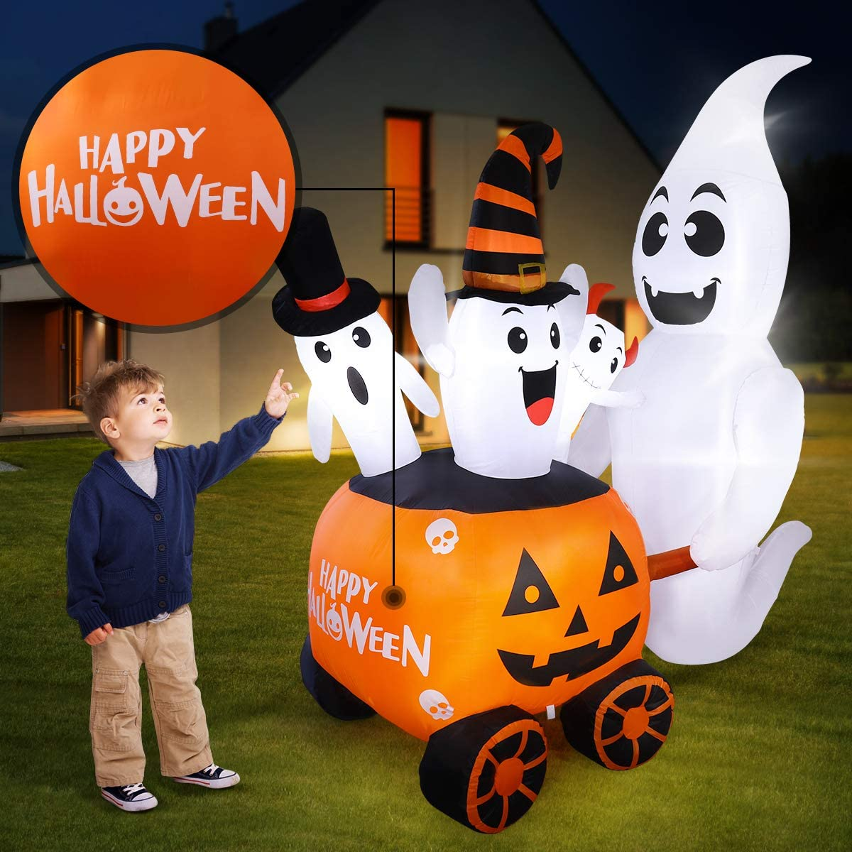 Halloween Inflatables Outdoor Decorations 6FT Halloween Blow Up Pumpkin Ghost Decoration with Happy Halloween Design