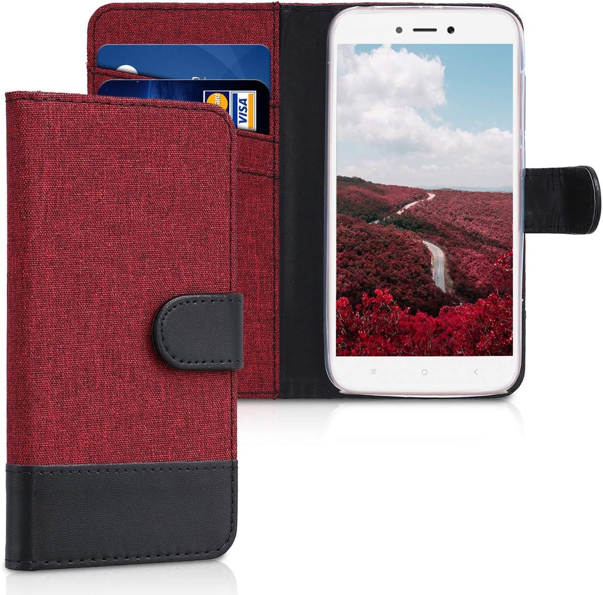 kwmobile Funda Compatible con Xiaomi Redmi 5A - Carcasa de Tela y Cuero sintético Tarjetero Rojo Oscuro/Negro