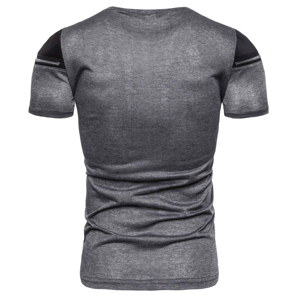 Amazon.com: Mens T Shirts,Sharemeno Collar Zipper Stitching ...