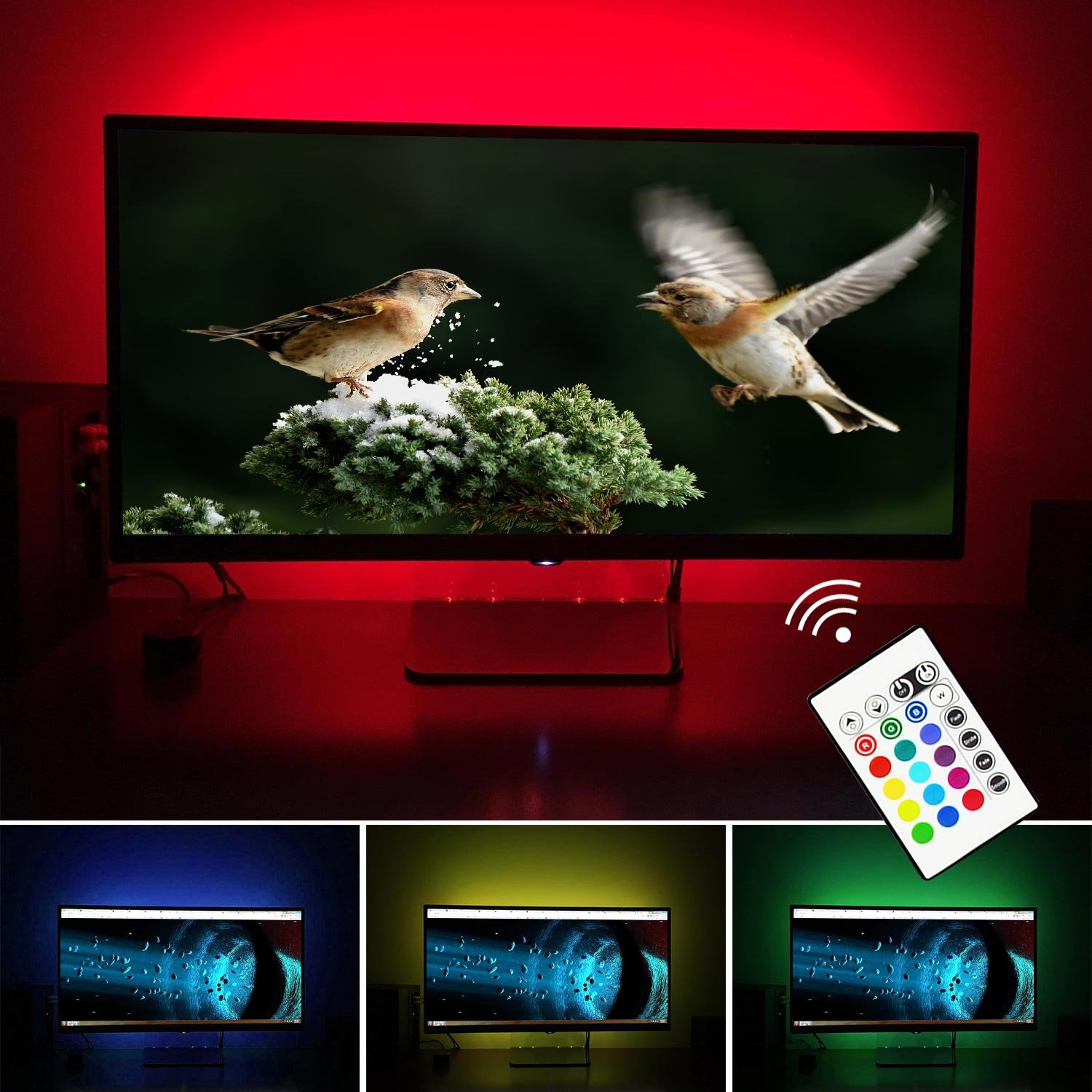 Simptech Led Strip Lights TV Backlight, Bias Lighting for 32 to 60 inch Flat HDTV, USB Powered, RGB Changing Color,Ambient Background Lighting for TV (32