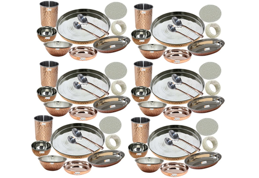 Set of 6 Prisha India Craft Best Dinnerware Steel Copper Thali Set Dia 13'' Indian Traditional Dinner Set of Plate, Bowl, Spoons, Glass with Napkin ring and Coaster - Christmas Gift