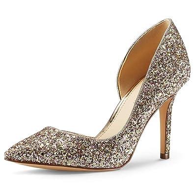 1b55492ebc47 JENN ARDOR Stiletto High Heel Pointed Closed Toe Slip On Dress Party Wedding  Evening Pumps Shoes