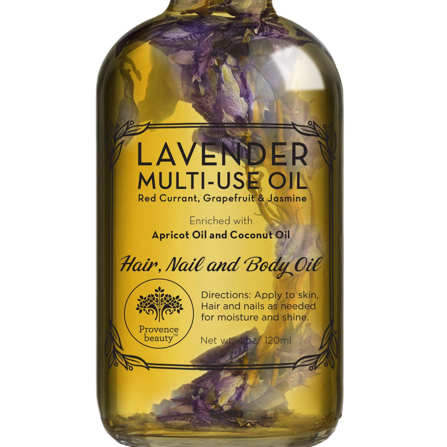 Lavender Multi-Use Oil for Face, Body and Hair - Organic Blend of Apricot, Vitamin E, Fractionated Coocnut and Sweet Almond Oil Moisturizer for Dry Skin, Scalp and Nails - 4 Fl Oz