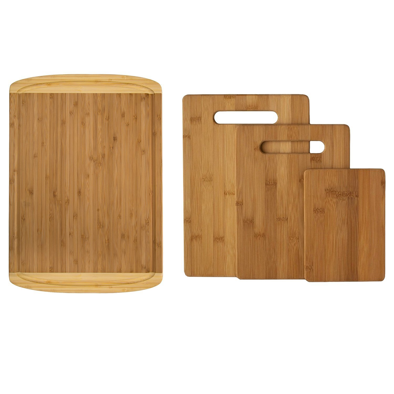 Premium Bamboo Cutting Board Set of 4 - Eco-Friendly Wood Chopping Boards with Juice Groove for Food Prep, Meat, Vegetables, Fruits, Crackers & Cheese - 100% Natural Bamboo Craftsmanship. by: Bambusi by Bambüsi (Image #3)