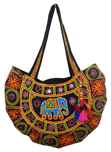 c635582c91e4 Image Unavailable. Image not available for. Color  Exotic Elephant Design Multi  Colored Hand Embroidered Banjara Shoulder Bag