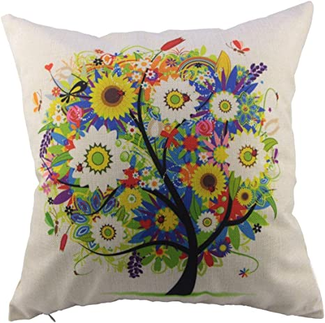 Amazon Com Flowers Tree Cotton Linen Square Decorative Throw Pillow Case Cushion Cover 18 X 18 Inch Home Kitchen
