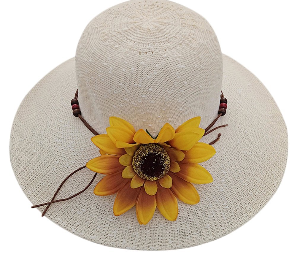 Gespout Seaside Vacation Beach Hat Visor UV Protection Summer Lady Straw Hat, Decoration: Flowers, Straw, 56-58CM