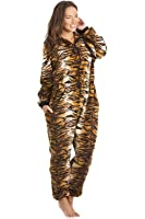Camille Womens Luxury Gold And Brown Tiger Print Hooded All In One Onesie Pyjama