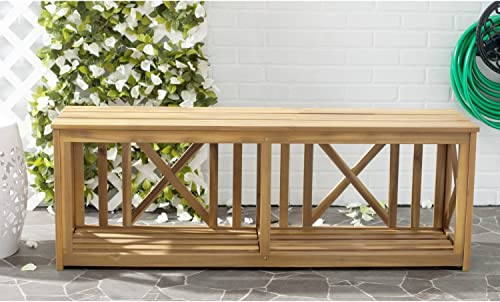 Safavieh Outdoor Collection Branco White and Ash Grey Bench