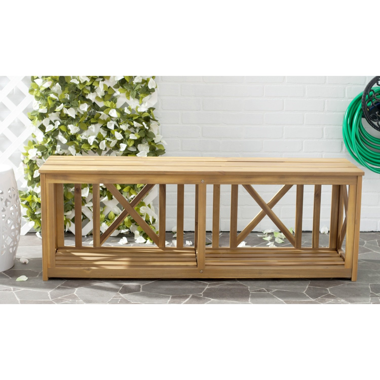 Safavieh Outdoor Collection Branco Natural Brown Bench